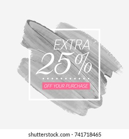 Extra Sale 25% off sign over watercolor art brush paint abstract background vector illustration. Perfect acrylic design for a shop and sale banners.