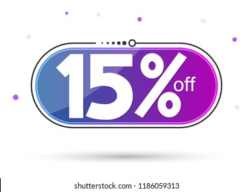 Extra Sale, banner design template, discount tag, 15% off, app icon, vector illustration