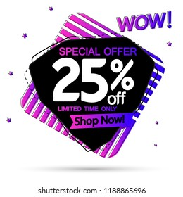 Extra Sale, banner design template, wow discount tag, 25% off, app icon, special offer, vector illustration