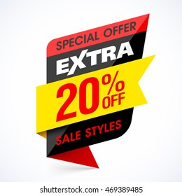 Extra Sale banner, special offer, take an extra 20% off all sale styles