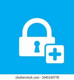 Extra security, increased security icon. Lock icon with add sign. Lock icon and new, plus, positive symbol. Vector icon
