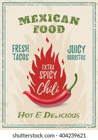 Extra spicy chili paper with fire. Template for restaurant, cafe, bar or fast food poster, brochure or flyer. Mexican restaurant poster, food brochure or menu template.
