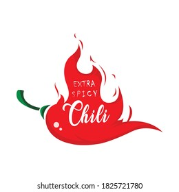 Extra spicy chili paper poster, badge or banner template with fire, Spice food symbol icon, isolated on white background.