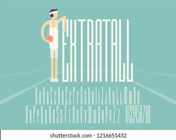 Extra Tall Font. Vector Illustration.