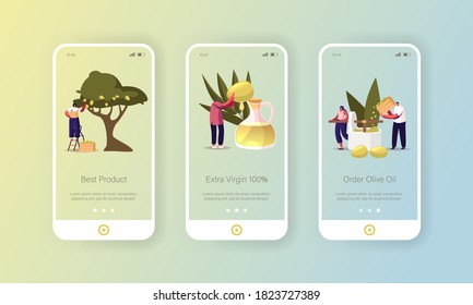 Extra Virgin Olive Oil Mobile App Page Onboard Screen Template. Tiny Characters around of Huge Glass Jug Growing, Collecting and Pressing Green Fresh Olives Concept. Cartoon People Vector Illustration