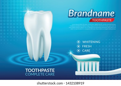 Extra Whitening Toothpaste Healthy Teeth Concept. Vector Realistic Set Illustration 3d Extruded Toothpaste, Brandname Advertisements Toothpaste
