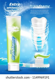 Extra Whitening Toothpaste Realistic Vector Promo Poster with New Toothpaste Branded Tube, Shiny White Tooth and Squeezed Out Toothpaste on Toothbrush Illustration. Hygienic Product Advertising Banner