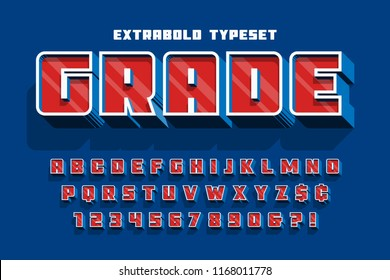 Extrabold 3d display font design, alphabet, letters and numbers
