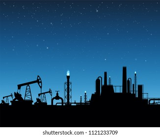 Extraction of gas and oil. Industrial plant on sunset background. Stock vector illustration.
