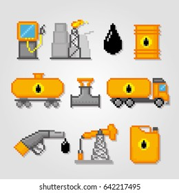 Extraction and processing of oil. Pixel art. Old school computer graphic style. Games elements.