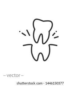 extraction tooth icon, tooth doctor, removal wisdom teeth, thin line symbol for web and mobile phone on white background - editable stroke vector illustration