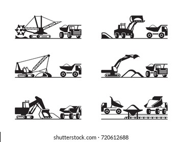 Extraction and transmission of ore from open pit - vector illustration