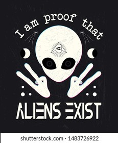 Extraterrestrial, alien, et, face mystical lettering print.