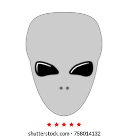 Extraterrestrial alien face or head set icon . Flat style .