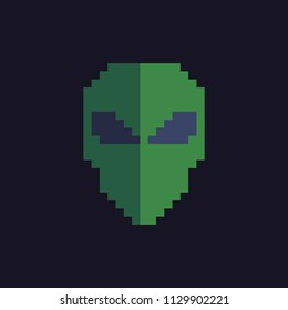 Extraterrestrial alien face or head symbol pixel art icon. Isolated vector illustration. Design for stickers, logo, app, website.