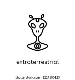 extraterrestrial icon. Trendy modern flat linear vector extraterrestrial icon on white background from thin line Astronomy collection, outline vector illustration