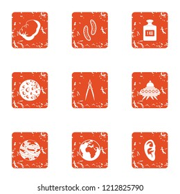 Extraterrestrial intervention icons set. Grunge set of 9 extraterrestrial intervention vector icons for web isolated on white background