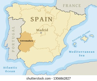 Extremadura autonomous community location map within Spain. Vector illustration.