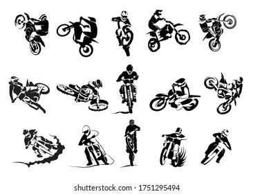Extreme bike big vector set 14x, motocross