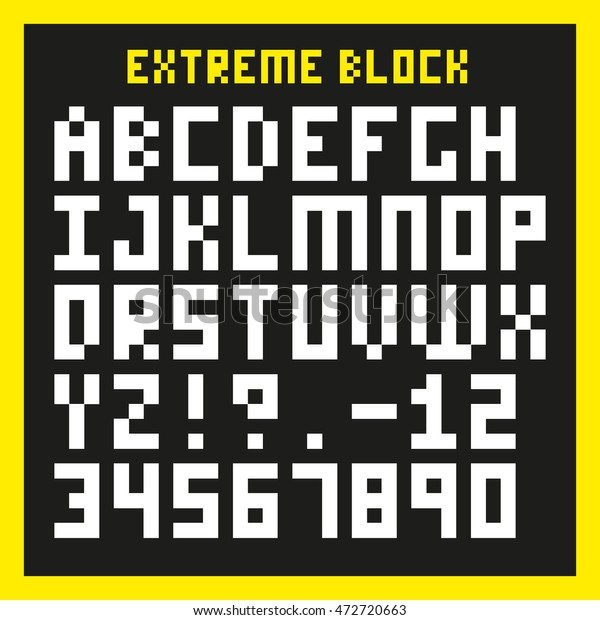 Extreme Block Font Heavily Pixelated Type Stock Vector