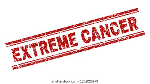 EXTREME CANCER seal print with corroded effect. Red vector rubber print of EXTREME CANCER caption with corroded texture. Text caption is placed between double parallel lines.