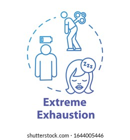 Extreme exhaustion concept icon. Lack of energy. Overwork and burnout. Cold symptom. Chronic weakness. Fatigue idea thin line illustration. Vector isolated outline RGB color drawing