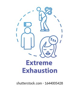 Extreme exhaustion concept icon. Woman without energy. Overwork and burnout. Cold symptom. Chronic weakness. Fatigue idea thin line illustration. Vector isolated outline RGB color drawing