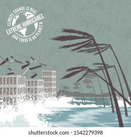 Extreme Hurricane with flying debris and waves pounding buildings, palm trees blowing over.  Climate change global warming series with warning stamp. Vector illustration.