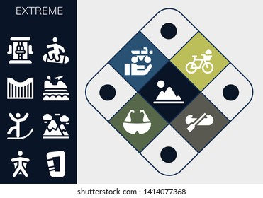 extreme icon set. 13 filled extreme icons.  Simple modern icons about  - Mountain, Wingsuit, Carabiner, Skiing, Mountains, Roller coaster, Jet ski, Snowboard, Bicycle, Motorbike