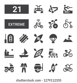 extreme icon set. Collection of 21 filled extreme icons included Bicycle, Kayak, Diver, Diving, Quad, Roller skate, Windsurf, Cliff, Climbing, Parachute, Skii, Raft, Water ski