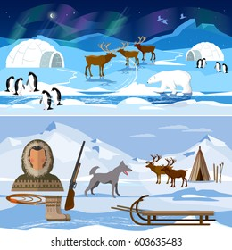 Extreme journey to Alaska. Life in the far north. Wild north arctic people in traditional eskimos costume and arctic animals