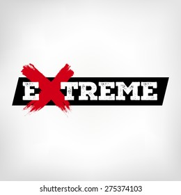 Extreme. Logo with the word extreme. X with grunge style. Handmade strokes. vector