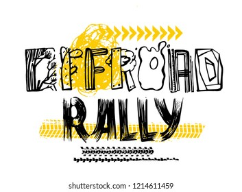 Extreme off-road rally. Vintage style. Unique hand drawn lettering. Landscape vector illustration in white, yellow and black colours useful for retro poster, print and apparel design.