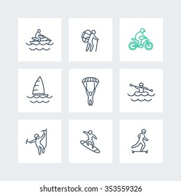 extreme outdoor activities line icons in squares, vector illustration