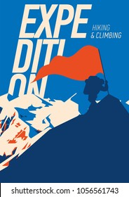 Extreme outdoor adventure poster. climber on peak with a red flag. High mountains illustration. Climbing, trekking, hiking, mountaineering and other extreme activities.