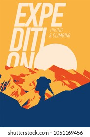 Extreme outdoor adventure poster. High mountains at sunset illustration.
