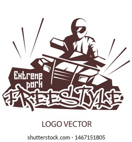 Extreme park logo concept ATV quad bike. Freestyle on ATV logo for Your business project. Vector Illustration ATV
