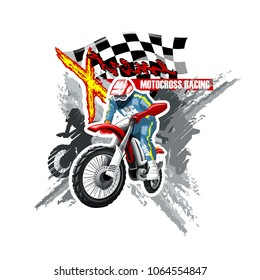 Extreme red Off Road Motorbike, X-Treme logo template. Vector illustration.