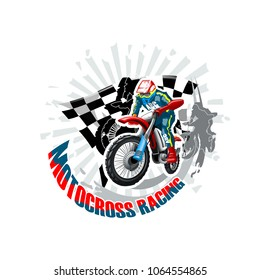 Extreme red Off Road Motorbike, Motocross racing. Vector illustration.