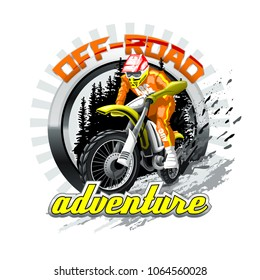 Extreme red Off Road Motorbike, Adventure. Vector illustration.