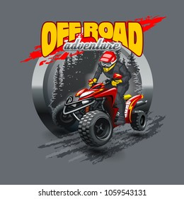 Extreme red Off Road Quad Bike. Vector illustration.