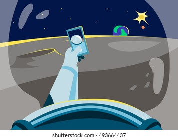 extreme selfie of the astronaut on the moon. Taking Selfie Photo on Smart Phone. Vector Illustration. Selfie photos for social networks media.