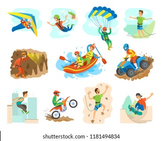Extreme sport and active lifestyle of people vector. Isolated icons with man trying hobbies, moto races and jumping from bridge, kayaking and rowing