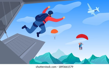 Extreme sport in air vector illustration. Parachuting sport. Parachute jumping courageous skydrivers. Active hobby. Sportsmen skydive and fly above mountains landscape.