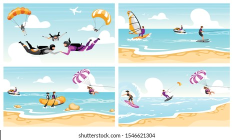 Extreme sport flat vector illustrations set. Couple skydiving, surfing, parachuting. Beach fun activities. Ocean windsurfing. Summer vacation. Water outdoor activities. Extremals cartoon characters