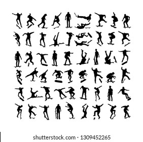 Extreme sport game, skateboarder in skate park, air jump trick. Skateboard vector silhouette illustration isolated on white background. Outdoor urban action. Sport accident. Injured athletes falls.