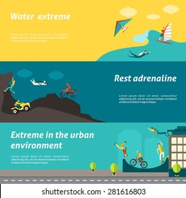 Extreme sport horizontal banner set with water urban adrenaline adventure elemetns isolated vector illustration