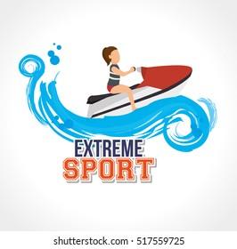 extreme sport jet ski label design