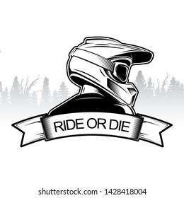 Extreme sport logo design. Motocross Downhill Mountain Biking logo template. Side view of man with integral helmet.