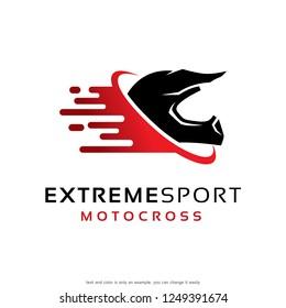 Extreme Sport Motocross Logo Template Design Vector, Emblem, Concept Design, Creative Symbol, Icon